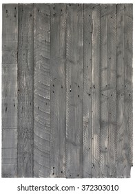 Pallet wood painted background texture old grey with knots and nail holes over white, copy space