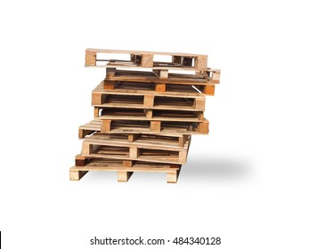 Pallet wood recycle isolated on white background.