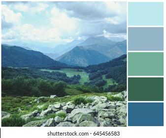 Pallete of colors. Mountain landscape. Harmonious combination of colors. Color mixing.