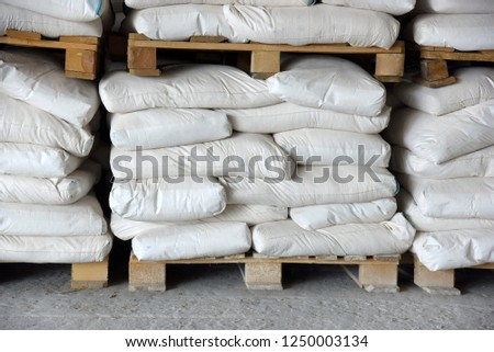 Pallets Bags Flour Stacked Rows Warehouse Stock Photo Edit Now