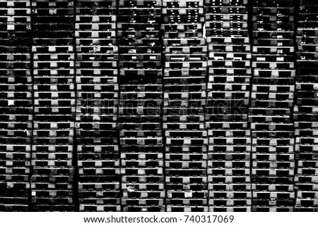 Pallets Stacked Black White Stock Photo (Edit Now) 740317069