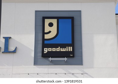 Palm Bay, Florida / USA - 04/30/2019 : Goodwill store front and business sign on front of building at the Malabar Rd. location.