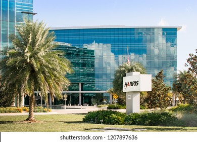 Palm Bay, Florida, USA - October 20, 2018: The Harris Technology Center is  a LEED-certified. 6,000-square-foot facility which opened in 2015.