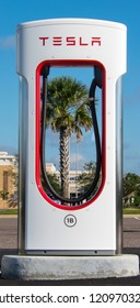 Palm Bay, Florida, USA - October 20, 2018: Tesla Superchargers will charge a Tesla automobile 100% in 75 minutes.