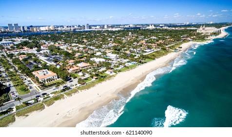 Palm Beach aerial coastline, Florida - USA.
