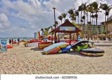 PALM BEACH, ARUBA -18 JUN 2016- View of Palm Beach on the Caribbean island of Aruba. Many hotels, including the Hyatt Regency Aruba Resort and Spa and the Riu Palace Aruba are located on Palm Beach.