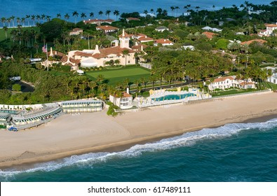 Palm Beach, Fl., April 7, 2017: President Donald Trump hosted President Xi of China this week at Trump's Mar-a-Lago resort in Florida. Mar-a-Lago is shown in an aerial view as of January 12, 2013.