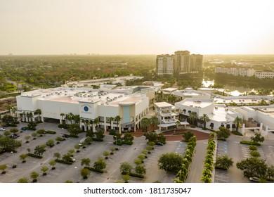 PALM BEACH, FL, USA - SEPTEMBER 7, 2020: Aerial drone photo of The Gardens Mall Palm Beach FL USA at sunrise