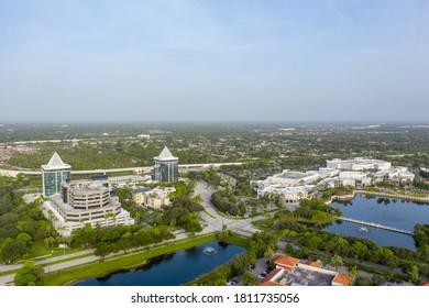 PALM BEACH, FL, USA - SEPTEMBER 7, 2020: Aerial photo Divosta Towers and The Gardens Mall Palm Beach Florida