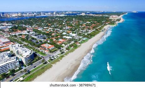 Palm Beach, Florida. Amazing aerial view of coastline.