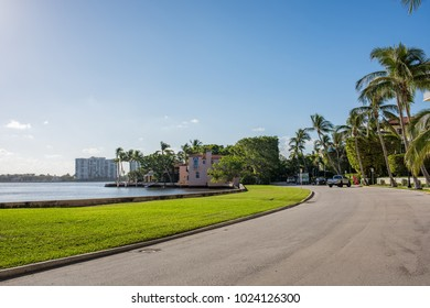 Palm Beach, Florida: December 6, 2017: Beautiful and wealthy Palm Beach, Florida. Palm Beach is the home of many famous and wealthy individuals in Florida.