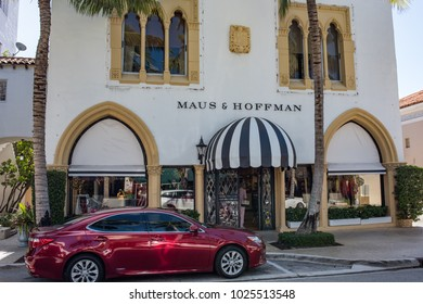 Palm Beach, Florida: December 6, 2017:  Exterior of a Maus & Hoffman store in Palm Beach, Florida.  Maus and Hoffman is a clothing retail store.