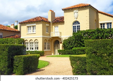 Palm Beach, Florida, USA - March 15, 2014: External facade of a wonderful mansion in spanish style. No people.