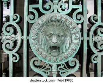 Palm Beach, Florida USA - October 5, 2010: Lion head figure detail in the ironwork grill over an entrance door to Whitehall, the Henry Morrison Flagler Museum