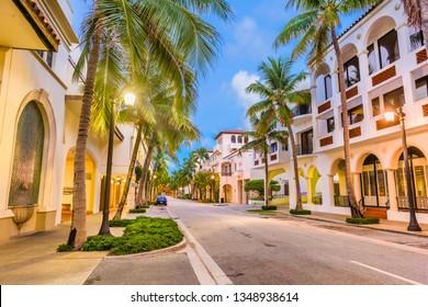 Palm Beach, Florida, USA at Worth Ave at twilightt.