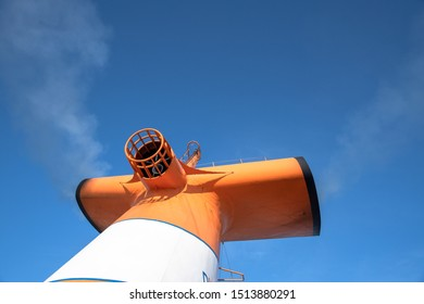 Palm Beach, Florida, USA-July 16, 2019: The Grand Paradise Bahamas Cruise Ship. A detail of the ship's funnel. The ship offers trips from this city to Freeport in Bahamas and it is tourist attraction