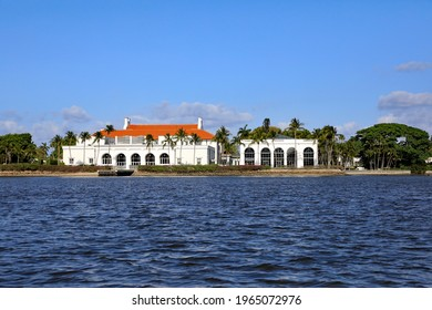 Palm Beach, FloridaUSA - April 28, 2021:  Whitehall is a National Historic Landmark and is open to the public as the Flagler Museum on Palm Beach, Florida.