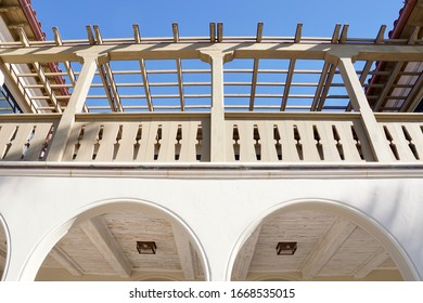 Palm Beach, Florida/USA -                       February 26, 2020: A horizonal image of an open air rooftop structure in Palm Beach, Florida.