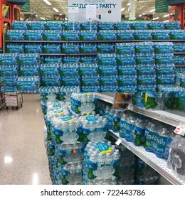Palm Beach Gardens, Florida - September 7, 2017: A supply of water in preparation for Hurricane Irma is displayed at a Publix store in Palm Beach Gardens, Florida on September 7, 2017.
