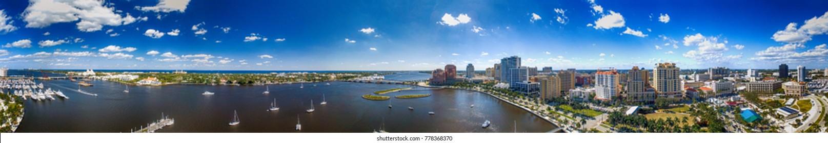 Palm Beach panoramic aerial view, Florida.