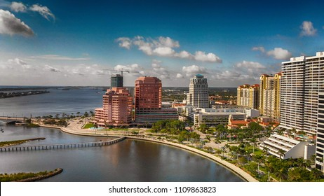 Palm Beach skyline, Florida. Panoramic aerial view from drone at sunset.