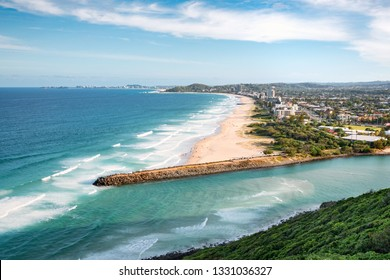 Palm Beach, Tallebudgera, Gold Coast, Australia: Scenic view of the mouth of Tallebudgera Creek and Palm Beach in the background.