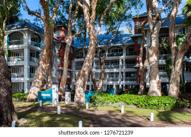 PALM COVE, QUEENSLAND, AUSTRALIA - 22 AUGUST 2011: Beachfront accomodation and apartments at Palm Cove, Australia's premier tropical holiday destination near Cairns in Far North Queensland.