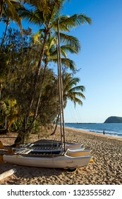 PALM COVE, QUEENSLAND, AUSTRALIA - 22 AUGUST 2011: Pleasure boats drawn up on the sandy, palm tree fringed beach at Palm Cove near Cairns, one of Queensland's premier holiday destinations.