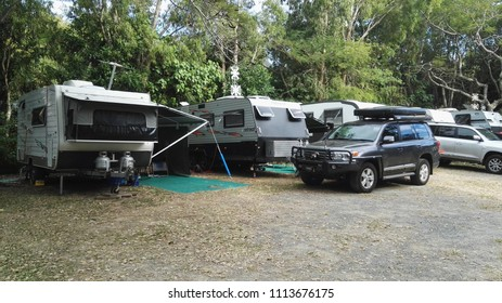 Palm Cove, Queensland, Australia, June 16th 2018, Campsite with parked vehicles and caravans