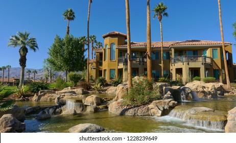 Palm Desert, CA / USA - November 8, 2018: Typical view at the Desert Spring Villas of the JW Marriott Resort