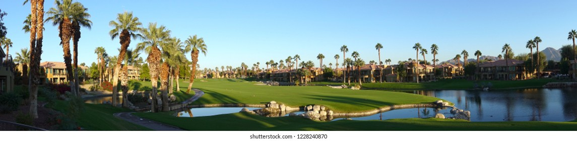 Palm Desert, CA / USA - November 5, 2018: Panoramic shot of the Desert Springs Villas and gold course at the JW Marriott Resort