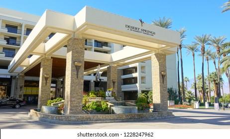 Palm Desert, CA / USA - November 8, 2018: Main entrance of the JW Marriott Desert Springs Resort while hosting the annual EY event