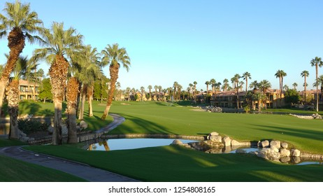 Palm Desert, CA / USA - November 8, 2018: The golf course and Desert Springs Villas at the JW Marriott