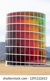 Palm Desert, California, United States - January 20th 2019 : Spectra Art Piece displays a new contrast colored view with every step.  Located on the Polo Field grounds in Palm Desert.