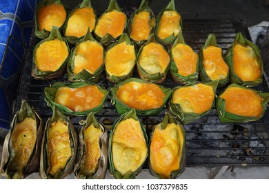 Palm egg pack in banan leaf is popular food in North of Thailand