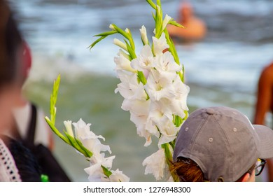 palm flower offered for iemanja, in Copacabana in Rio de Janeiro brazil.