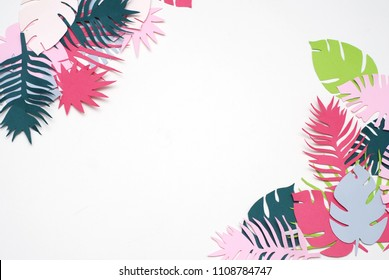 Palm Green Leaves Tropical Exotic Tree Isoalted on White Background. Square Image. Holliday Patern
