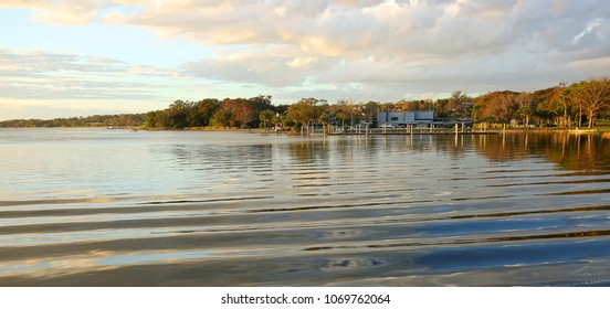 Palm Island Park glows as the sun gets ready to set.  Palm Island Park is an 8 acre natural preservation area located in Mount Dora, Florida, USA.