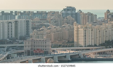 Palm Jumeirah Highway bridge aerial timelapse. View from Internet city with traffic. Dubai, United Arab Emirates