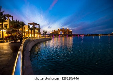 Palm Jumeirah Night View with blue sky background