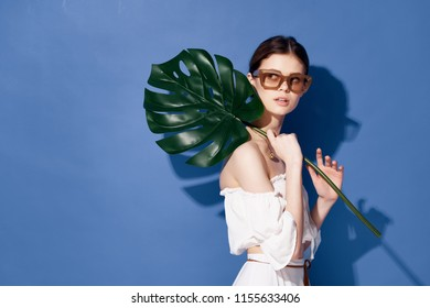 palm leaf woman with glasses blue background