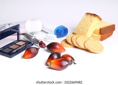 Palm oil fruits with everyday products containing palm oil