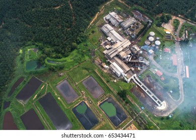 Palm Oil Mill view from above (aerial). Located in Pahang, Malaysia.