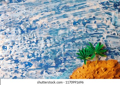 Palm on the beach. Colage. wooden background