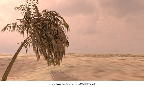 Palm on the desert. 3d rendering