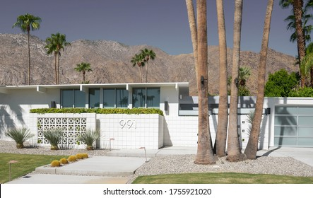 Palm Springs 28 september 2017 Mid century house in a Palm Springs Canyon