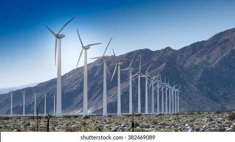 Palm Springs California February 2016 A beautiful blue sky shines as a wind farm creates clean energy for California residents