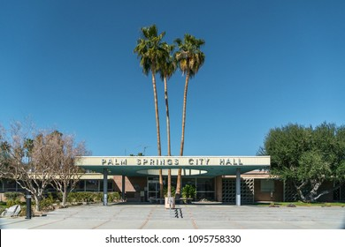 Palm Springs, California - March 2018: The Palm Springs City Hall and Public Library are great examples of Desert Architecture.