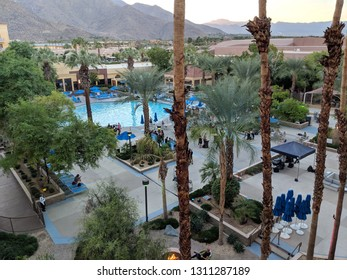 Palm Springs, California - October 26, 2018:  Renaissance Palm Springs Hotel Pool during party with mountains in the distance.