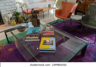 Palm Springs, California / USA - March 19 2019: Interior of Historic Desert Modern 1950s Midcentury Home in Palm Springs California
